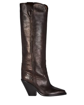 Lomero Leather Knee-High Western Boots, BROWN, hi-res