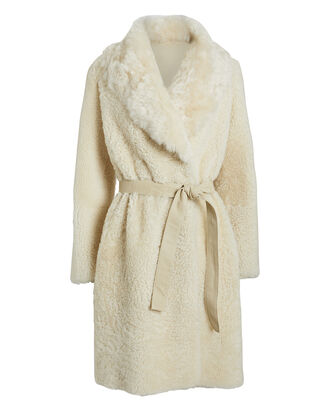 Belted Reversible Shearling Coat, IVORY, hi-res