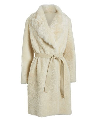Reversible Shearling Belted Coat, BEIGE/IVORY, hi-res