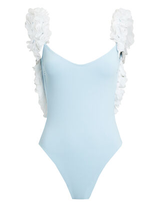 Amira White Petal Sky Blue Swimsuit, SKY BLUE/WHITE, hi-res