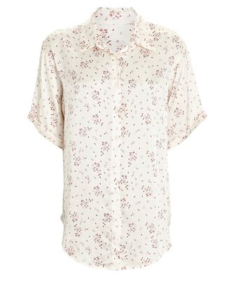Fifi Paisley Silk Button-Down Shirt, IVORY, hi-res
