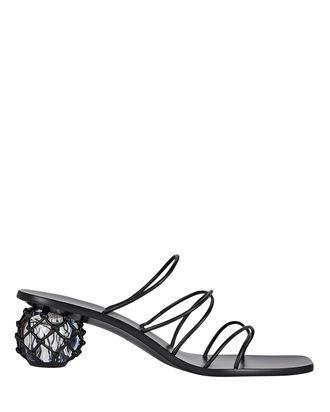 Kelly Leather Slide Sandals, BLACK, hi-res