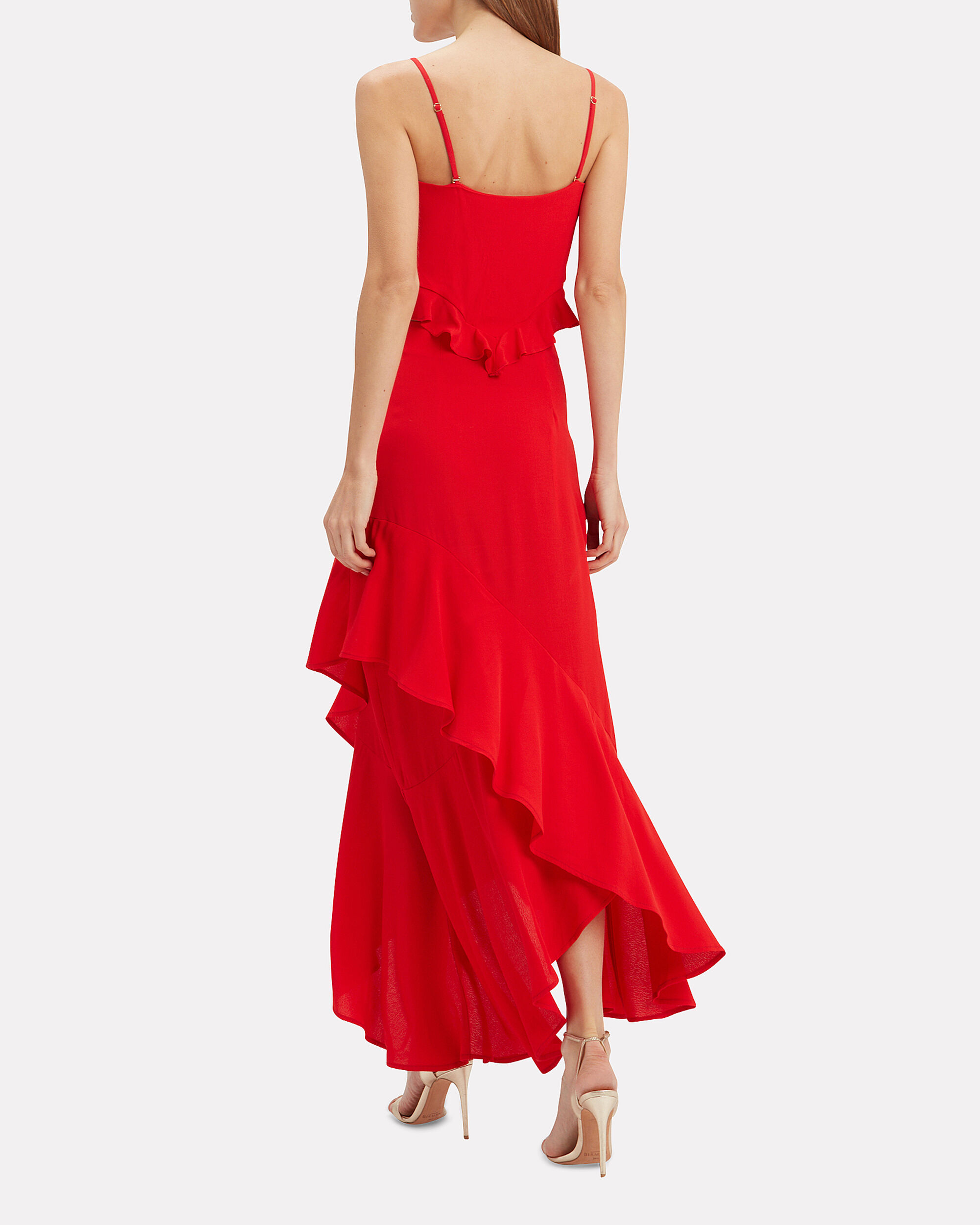 Michelle Ruffle Front Maxi Dress, RED, hi-res