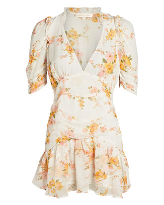 Arlo Floral Silk Mini Dress, MULTI, hi-res