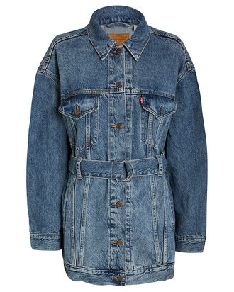 Belted Denim Trucker Jacket, MID-BLUE DENIM, hi-res