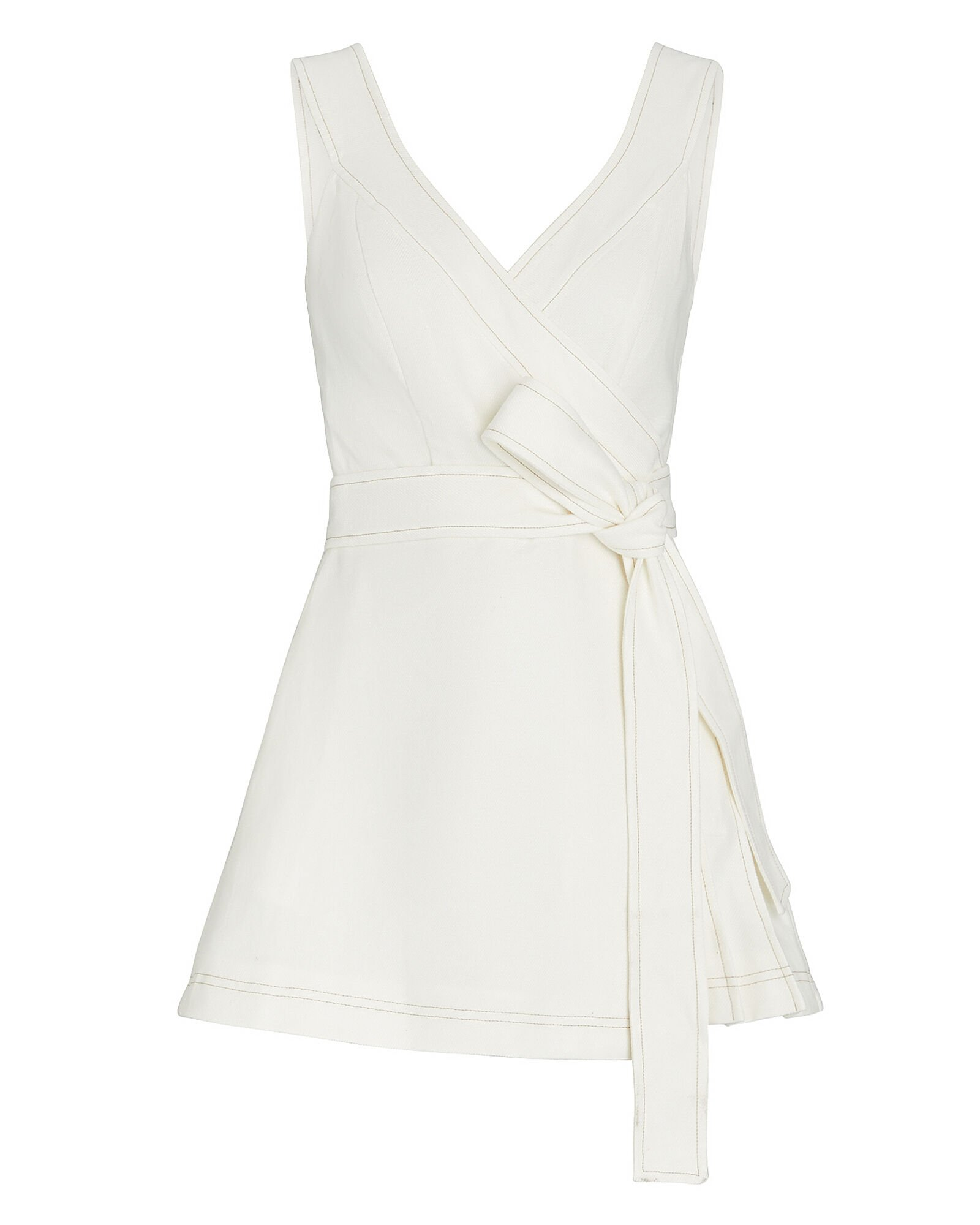 Catia Pleated Wrap Romper, WHITE, hi-res
