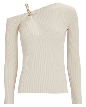 Paloma Chain-Embellished Knit Top, IVORY, hi-res