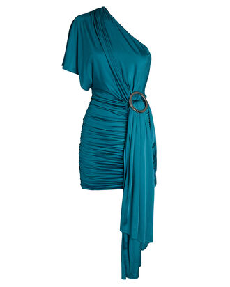 Draped One-Shoulder Mini Dress, BLUE-MED, hi-res