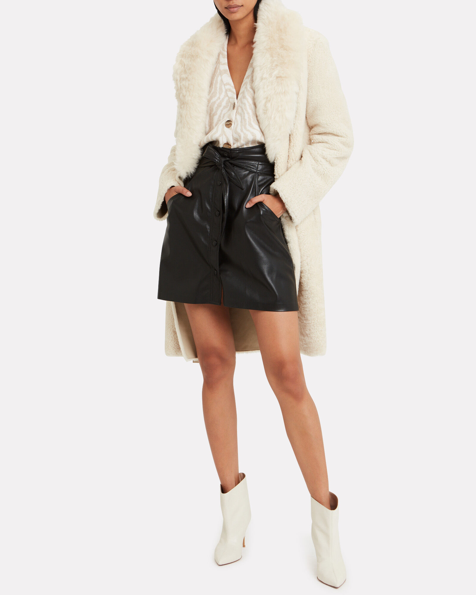 Chai Vegan Leather Mini Skirt, BLACK, hi-res