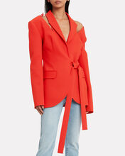 Wrap Cut-Out Blazer, RED, hi-res