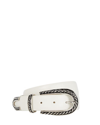 Western Buckle Leather Belt, WHITE, hi-res