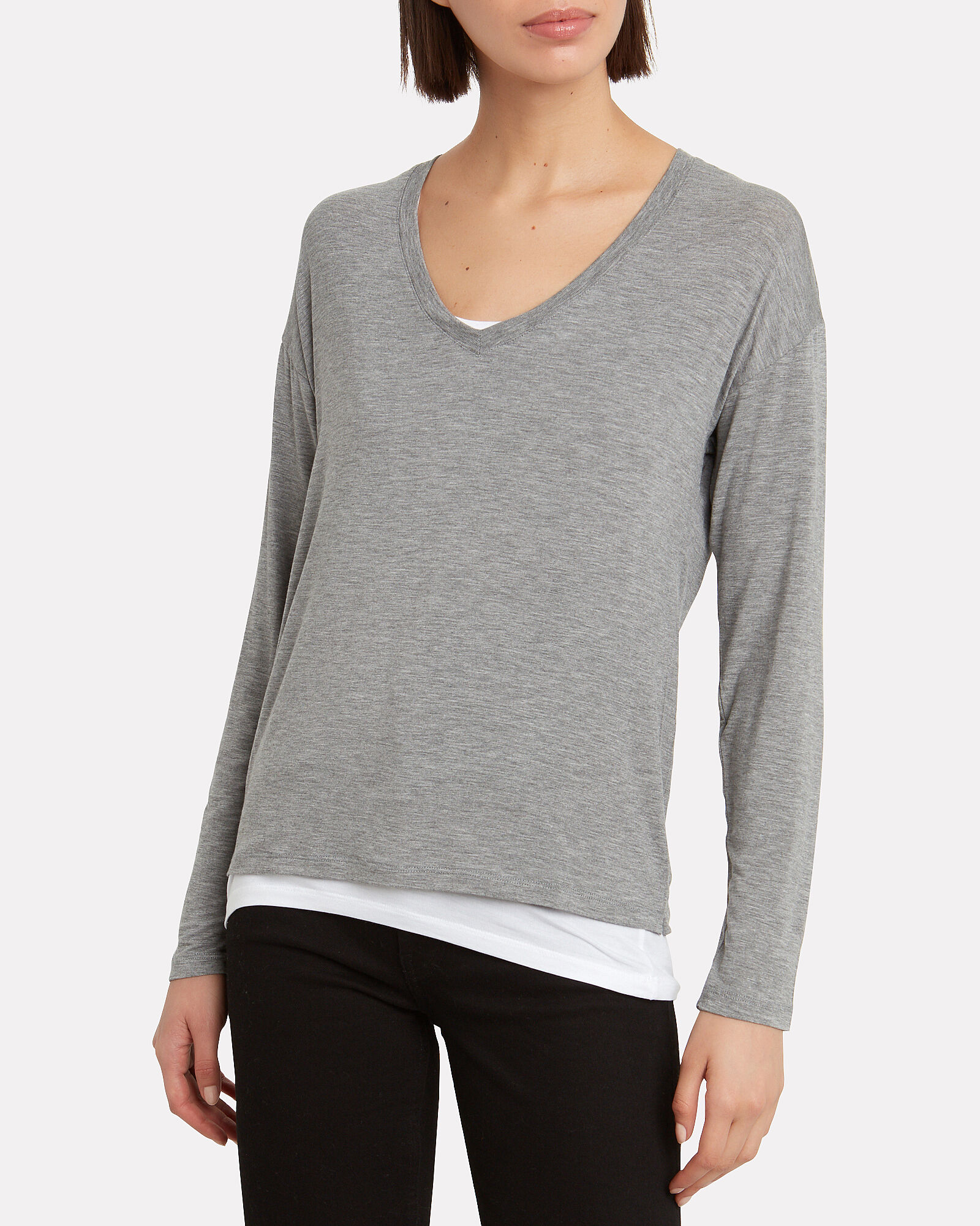Layered Long Sleeve T-Shirt, PEWTER, hi-res
