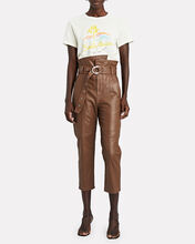 Anniston Leather High-Rise Pants, BROWN, hi-res