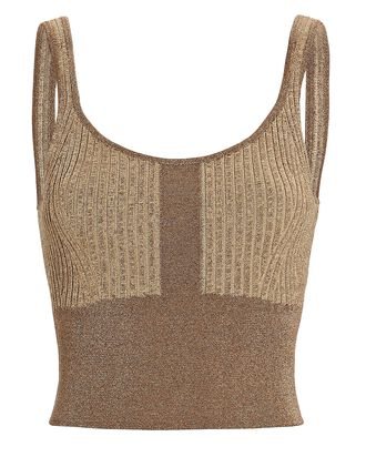 Cropped Lurex Knit Tank Top, BROWN, hi-res