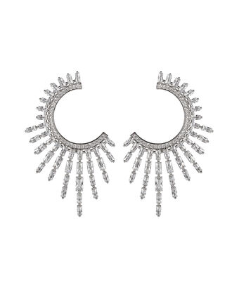 Charlotte Crystal Open Hoop Earrings, CLEAR, hi-res