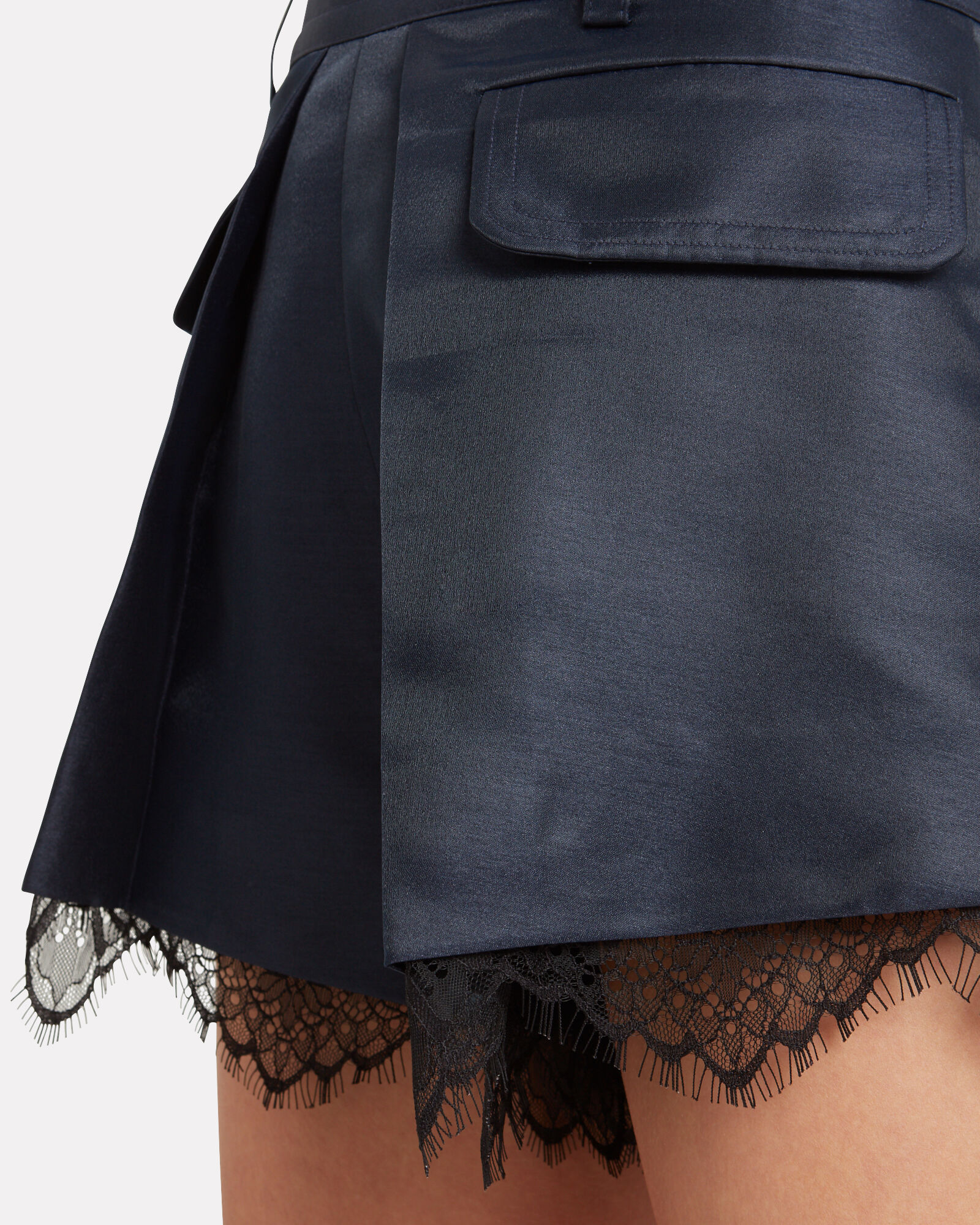 Lace-Trimmed Pleated Crepe Shorts, NAVY, hi-res
