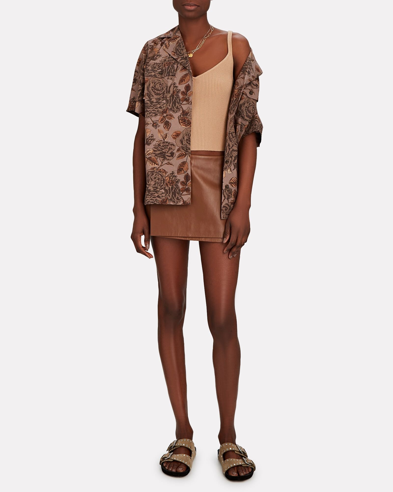 Celia Leather Wrap Mini Skirt, BROWN, hi-res
