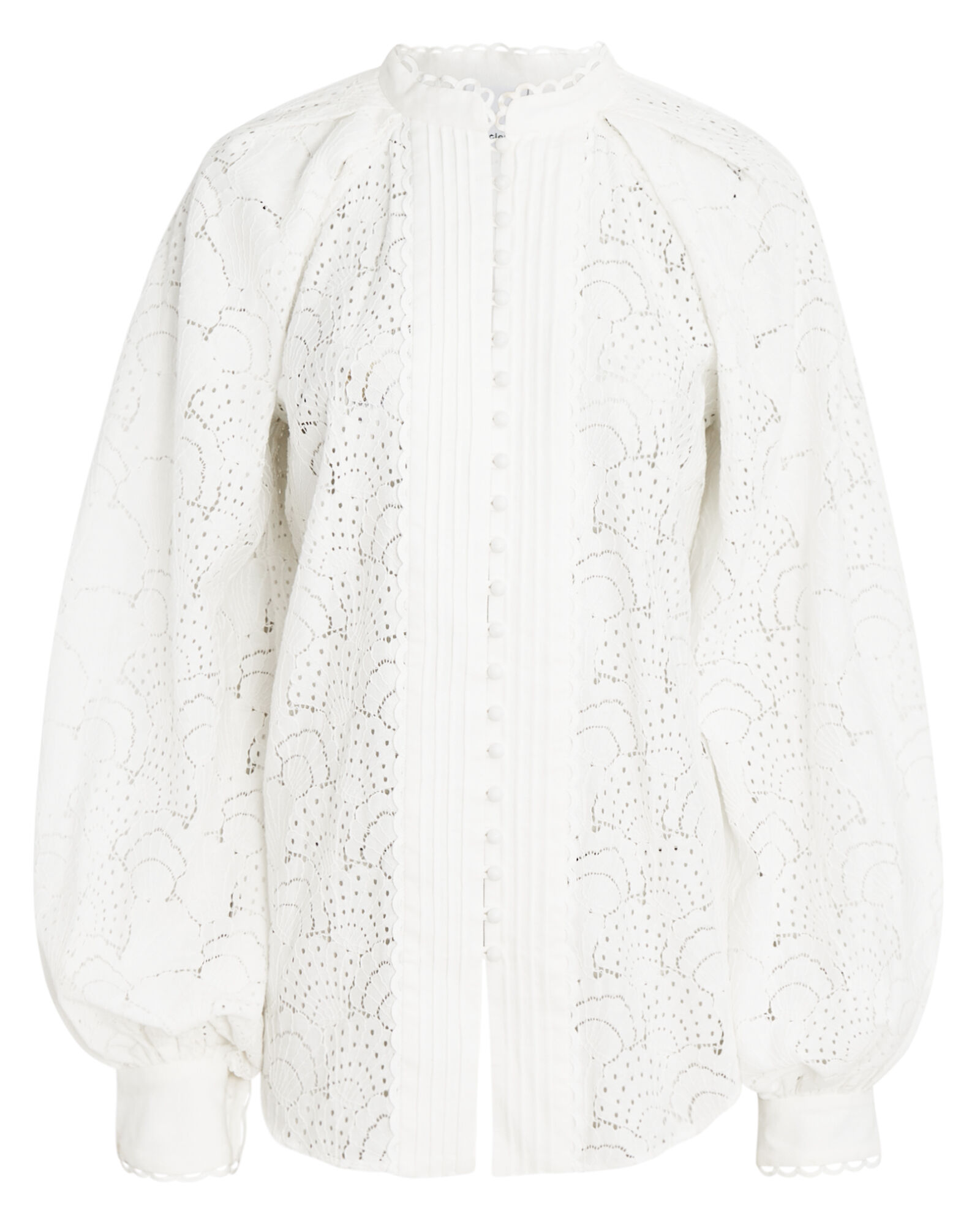 Cookes Balloon Sleeve Lace Blouse, WHITE, hi-res