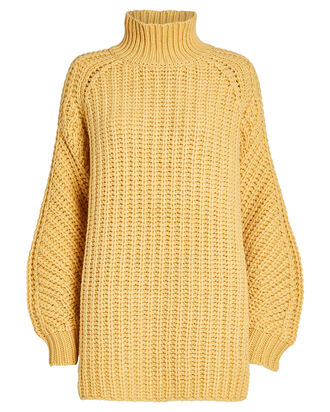 Zelma Oversized Lambswool Sweater, WHEAT, hi-res