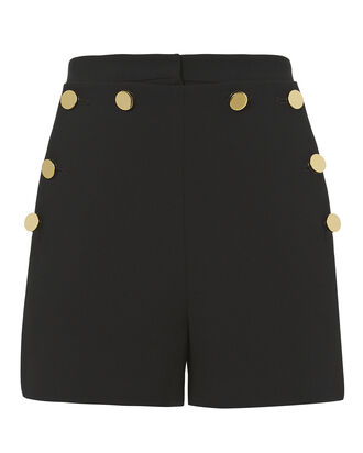 Gwenyth Button Detail Shorts, BLACK, hi-res