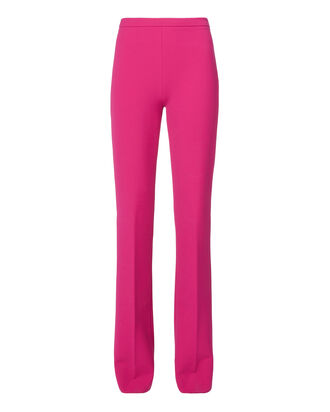 Pink Back Slit Hem Trousers, PINK, hi-res