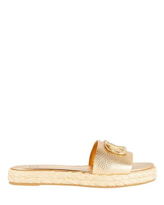 VLogo Espadrille Slide Sandals, GOLD, hi-res