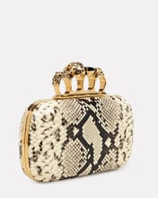 Python Embossed Four Ring Clutch, GREY, hi-res
