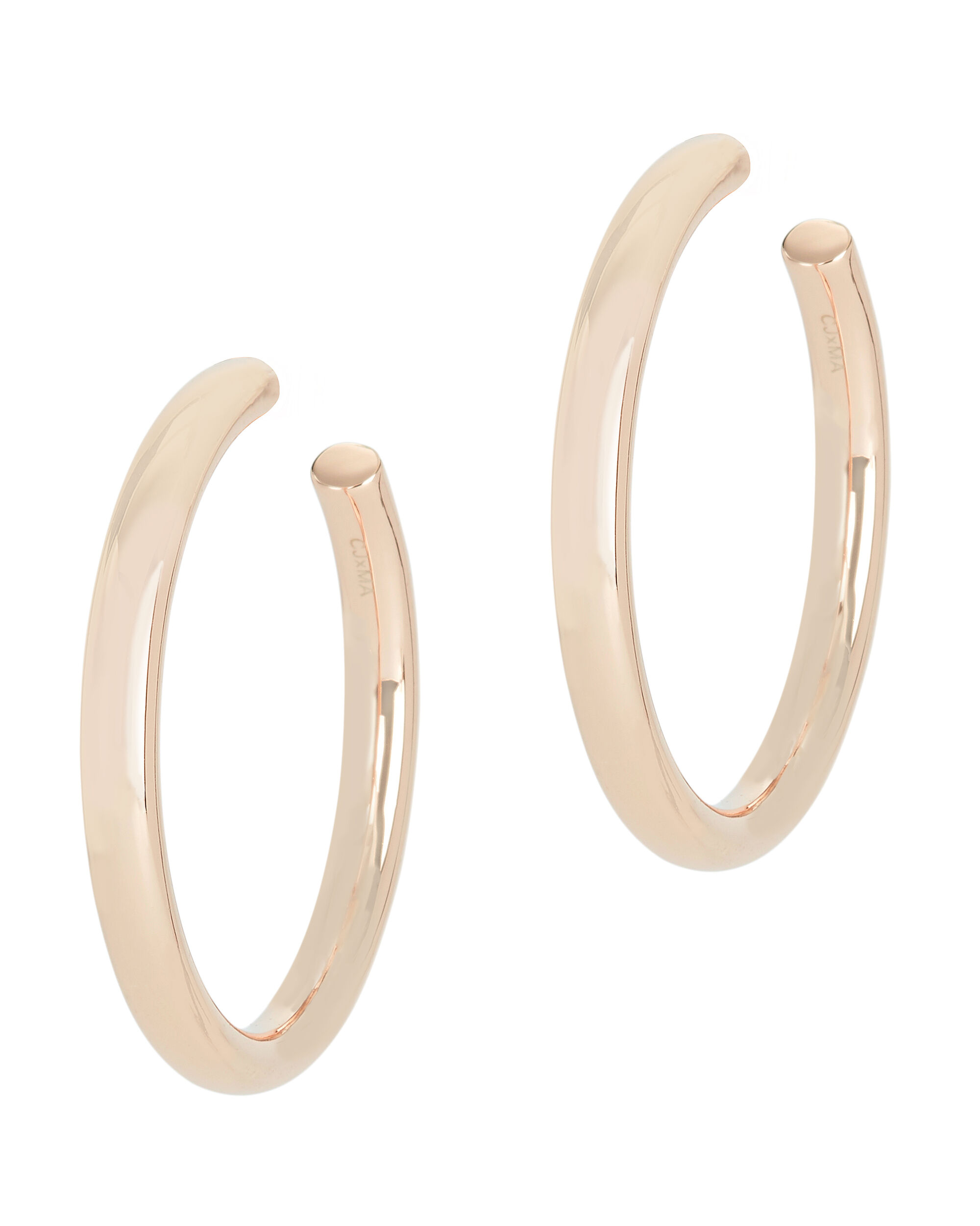 Modern Rose Gold Tone Hoops, ROSE, hi-res