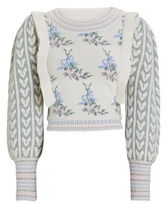 Warwick Cropped Floral Sweater, BLUE/IVORY, hi-res