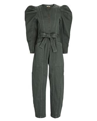Pascal Puff Sleeve Denim Jumpsuit, OLIVE, hi-res