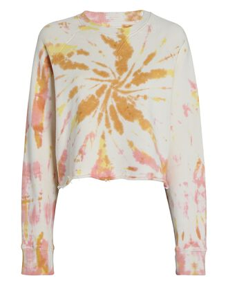 The Loafer Crop Fray Sweatshirt, IVORY/CORAL, hi-res