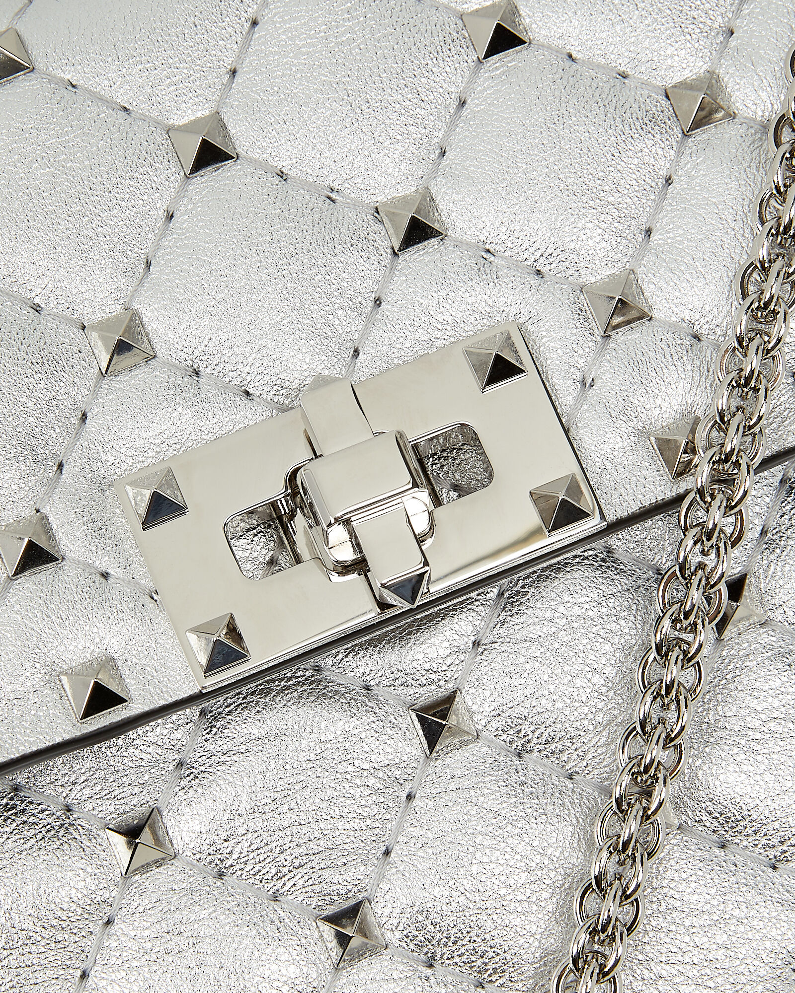 Rockstud Quilted Leather Bag, SILVER, hi-res