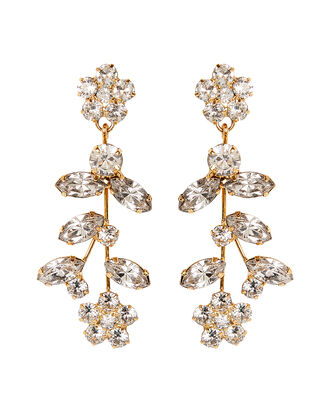 Andrea Crystal Flower Earrings, GOLD, hi-res