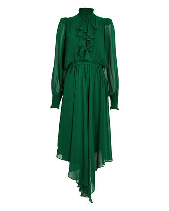 Crepe Ruffle Front Dress, EMERALD, hi-res