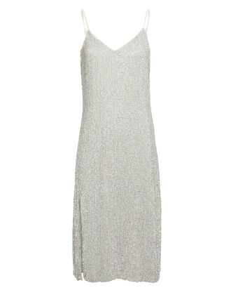 Denisa Metallic Slip Dress, SILVER, hi-res