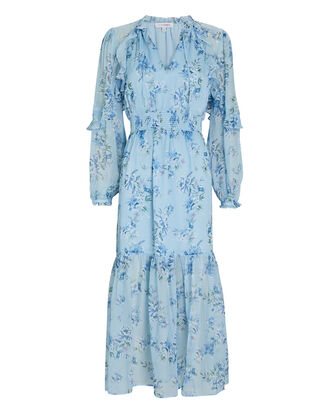 Ariana Floral Silk Midi Dress, BLUE-LT, hi-res