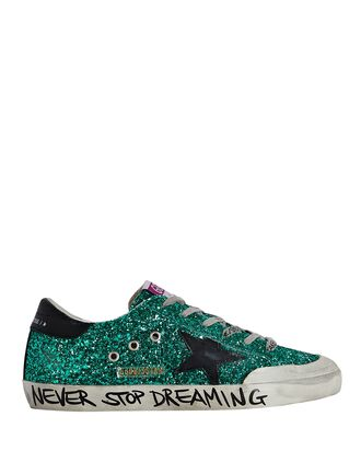 Superstar Glitter Low-Top Sneakers, GREEN, hi-res