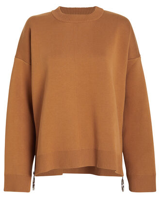Crewneck Side Zip Sweater, CAMEL, hi-res