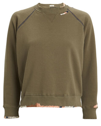 The Square Terry Sweatshirt, OLIVE, hi-res