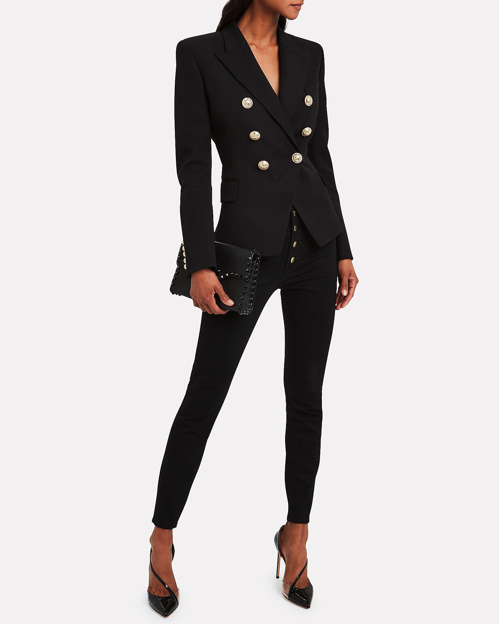 Double Breasted Suiting Blazer, BLACK, hi-res