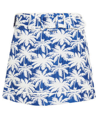 Lodi Palm Jacquard Skirt, BLUE/WHITE, hi-res
