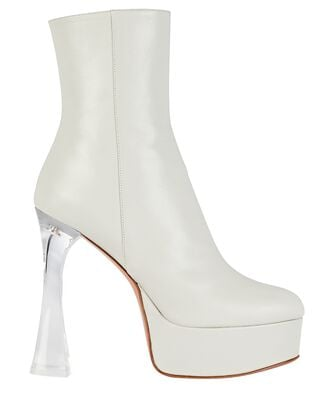 Dua Glass Leather Platform Ankle Boots, WHITE, hi-res