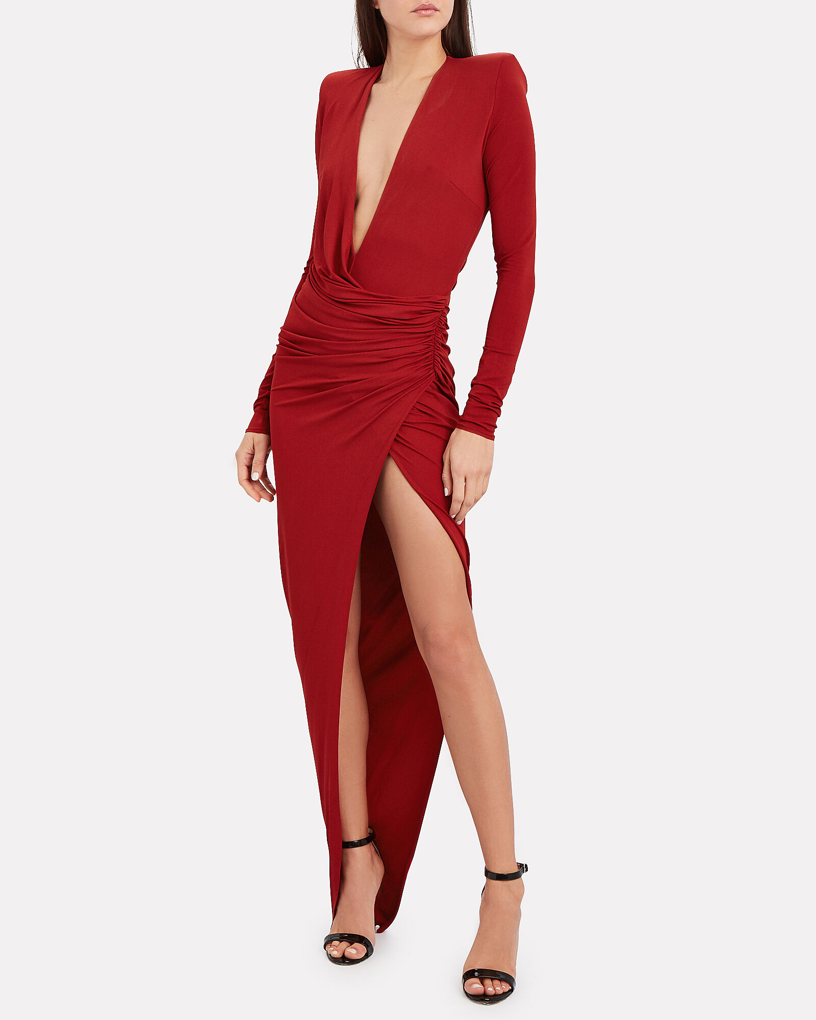 Draped Jersey Long Sleeve Dress, RUBY, hi-res
