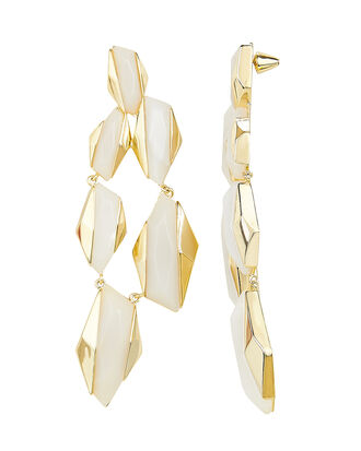 White Resin Statement Earrings, WHITE, hi-res