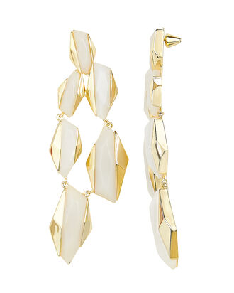 Geometric Drop Earrings, WHITE, hi-res