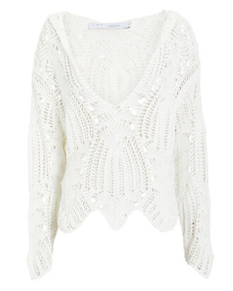 Bella Cotton Crochet Sweater, WHITE, hi-res