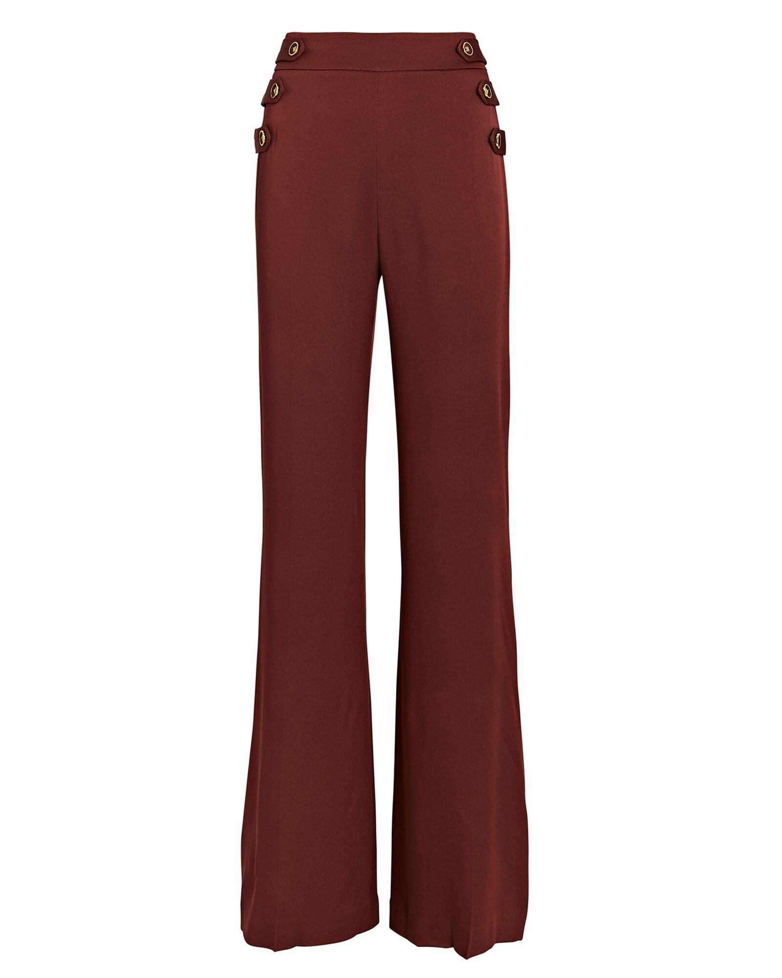 Romily Buttoned Flare Pants, ORANGE, hi-res