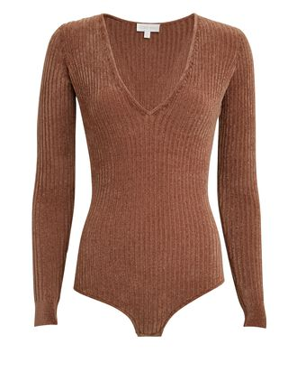 Talma Chenille Knit Bodysuit, BROWN, hi-res