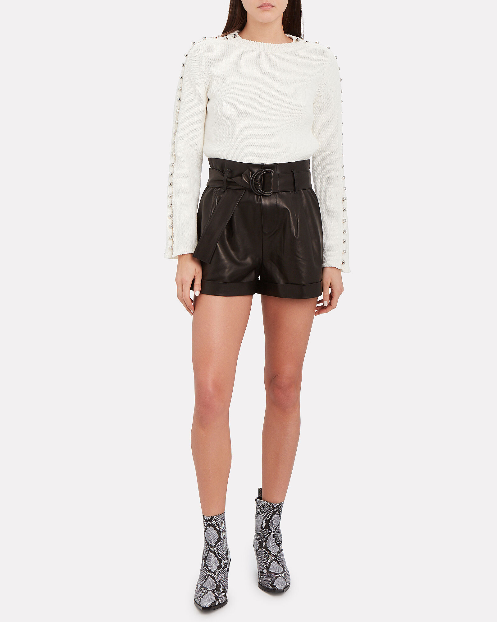 Belted Paperbag Leather Shorts, BLACK, hi-res