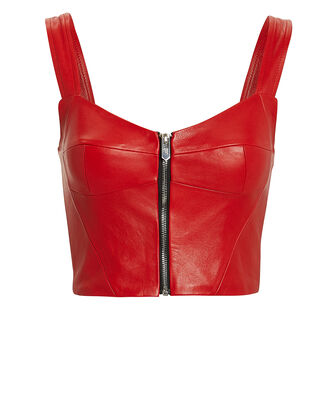 Ferrara Leather Bustier, RED, hi-res